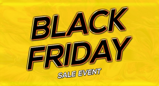 Sale banner event black friday text effect in 3d glowing