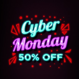 Sale banner of neon style cyber monday