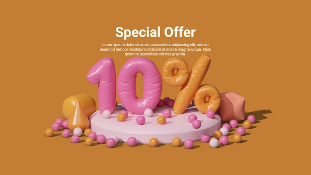 Sale banner template with 3d inflatable number 10