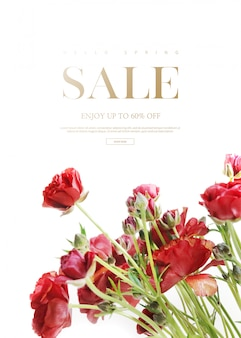 Sale banner template with beautiful flowers