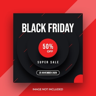 Sale black friday social media post template
