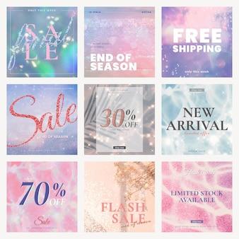Set di modelli modificabili di vendita psd per post sui social media