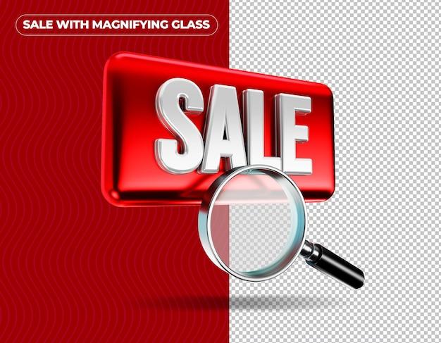 Увеличительное стекло продажи на красном фоне