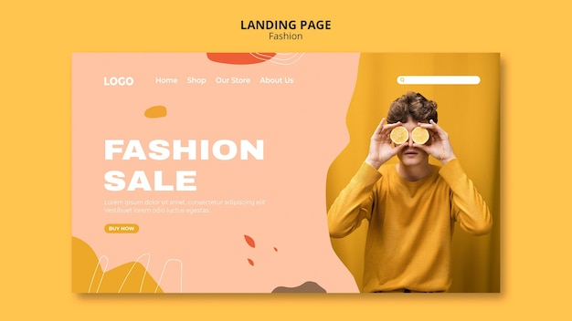 Sale male fashion landing page template