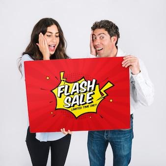 Sale mockup with couple