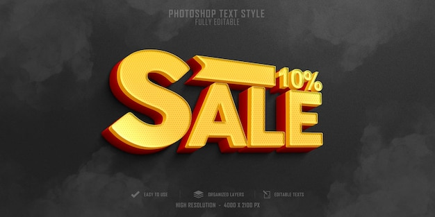 Sale offer 3d text style effect template design