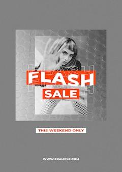 Modello di poster di vendita psd con sfondo a colori retrò per il concetto di influencer di moda e tendenze