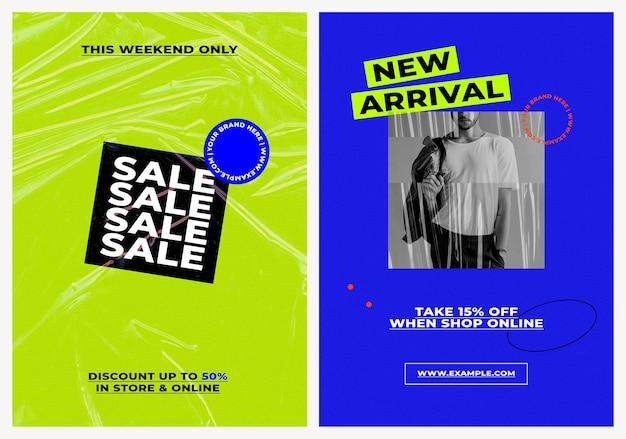 Set di modelli di poster di vendita psd con sfondi a colori retrò per moda e tendenze