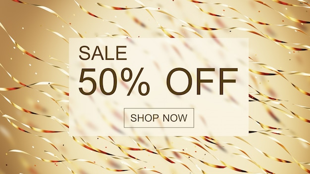 Sale shinny banner with font gold