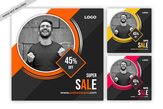 Sale social media post template set