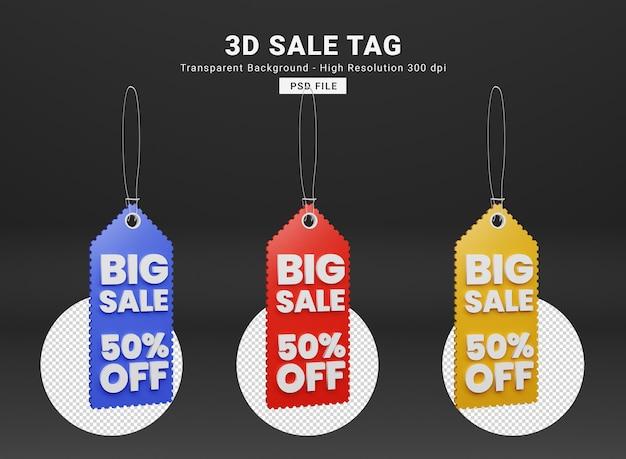 Sale tag 3d rendering premium psd