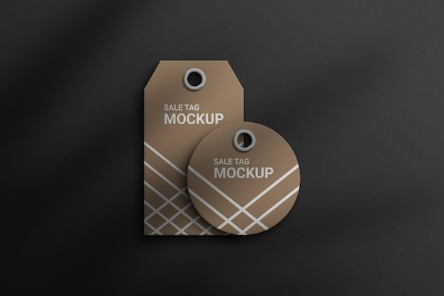 Sale tag mockups top view photoshop