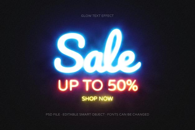 Текстовый эффект продажи в свечении редактируемый