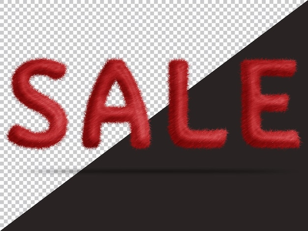 Sale text with realistic 3d fur