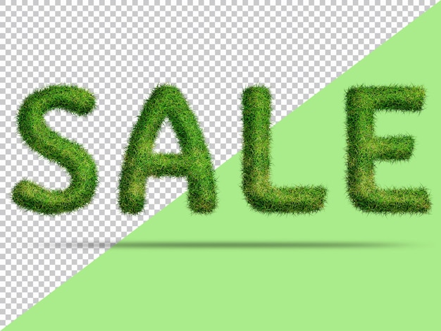 Sale text with realistic 3d grass