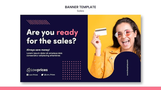 Sales banner template with photo