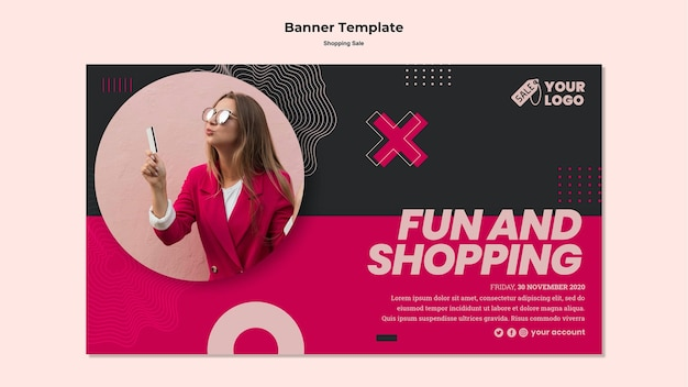 Sales banner with photo of woman