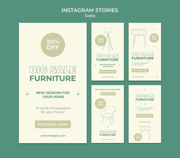 Progettazione di modelli di storie insta di vendita