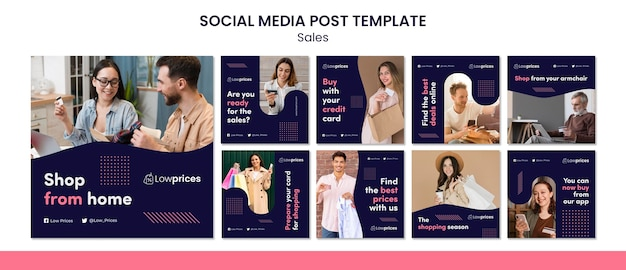 Sales instagram posts template with photo
