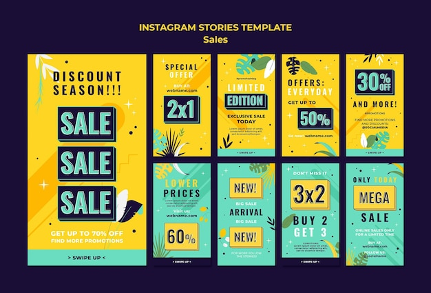 Sales instagram stories template with bright colors