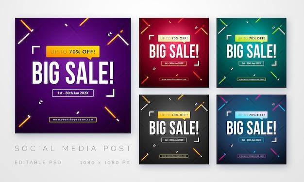 소셜 미디어 용 판매 게시물