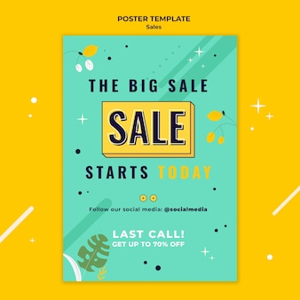 Sales poster template with bright colors