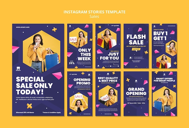 Sales social media stories set