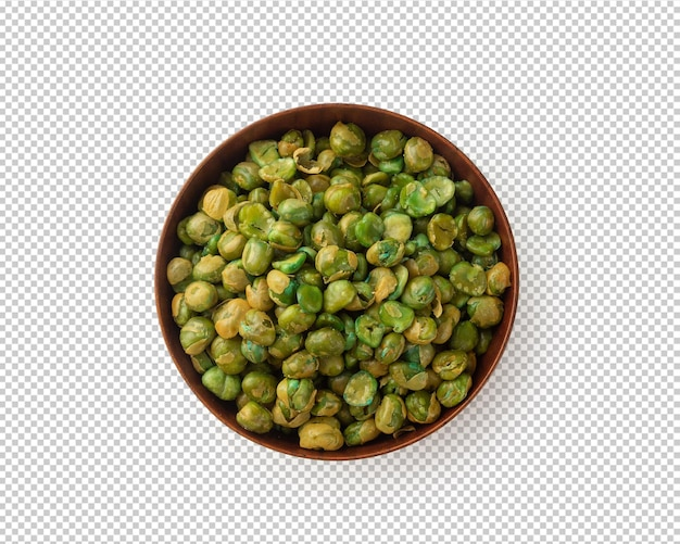 Salted green peas in wooden bowl isolated