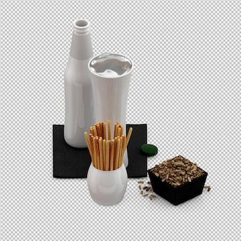 Salty sticks with glass and bottle 3d render