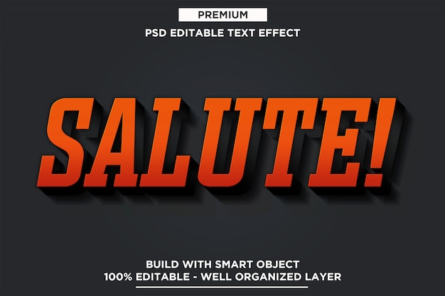 Salute - 3d text style font effect template psd