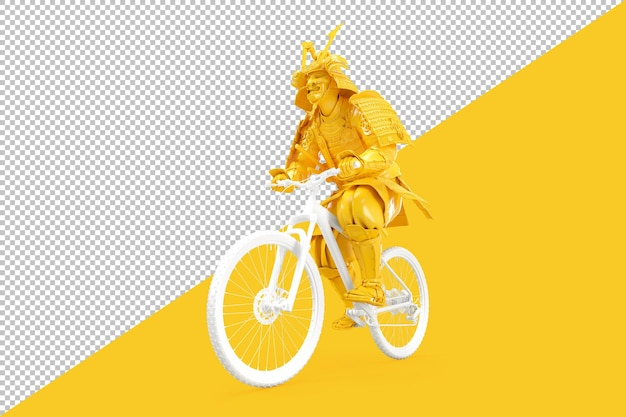 Samurai cycling on bike isolated