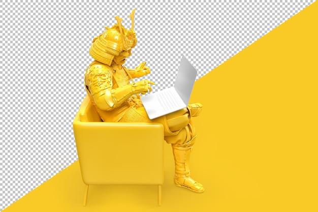 ノートパソコンと一緒に座っている伝統的な鎧の侍。技術コンセプト。 3dレンダリング