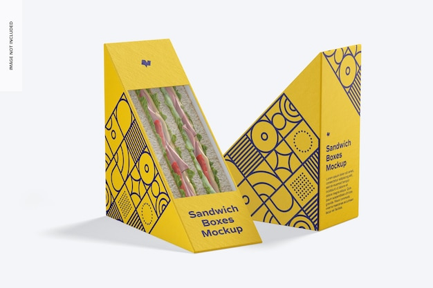Sandwich boxes mockup, left and right view