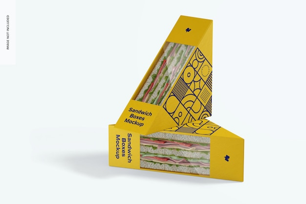 Мокап коробки для сэндвичей, стоя и уронили