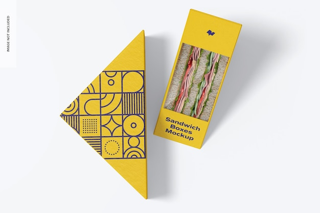 Mockup di scatole per sandwich, vista dall'alto