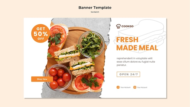 Sandwich concept banner template