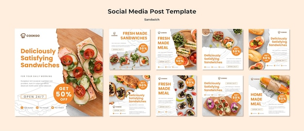 Sandwich concept social media post template