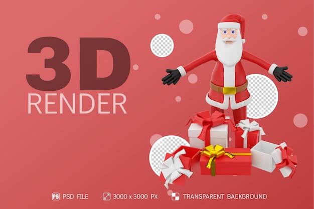 3d 캐릭터 격리 된 배경 아래로 손으로 산타와 선물 상자