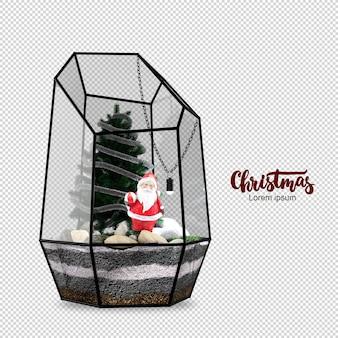 ガラスの箱の中のサンタクロースとクリスマスツリー