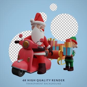 산타클로스와 난쟁이들이 스쿠터를 타고 크리스마스와 새해 3d 캐릭터 삽화를 위한 선물을 준비하고 있다