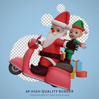 산타클로스와 난쟁이들이 스쿠터를 타고 크리스마스와 새해 선물을 준비하고 있다