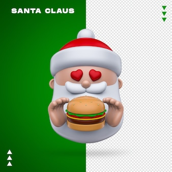 Santa claus burger 3d rendering isolated