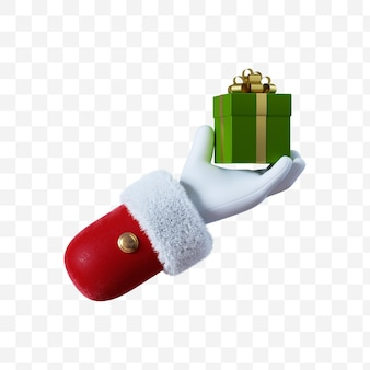 Santa claus cartoon hand holds the green gift box with golden ribbon