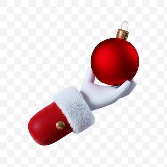Santa claus cartoon hand holds the red christmas ball