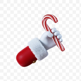 Santa claus cartoon hand holds the red christmas candy