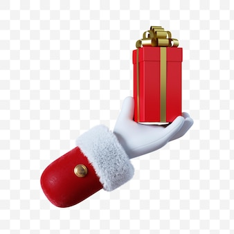 Santa claus cartoon hand holds the red gift box with golden ribbon