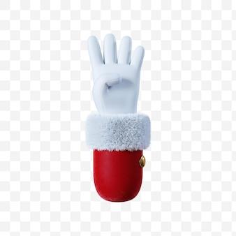 Santa claus cartoon hand number four gesture