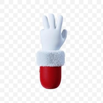 Santa claus cartoon hand number three gesture