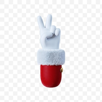 Santa claus cartoon hand victory  gesture