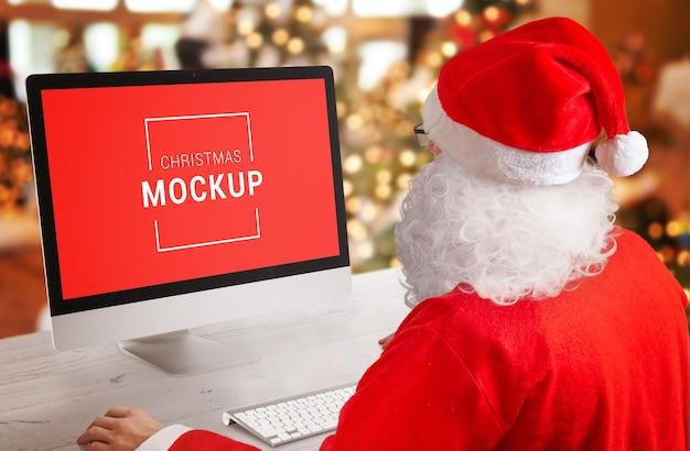 Santa claus christmas computer display mockup